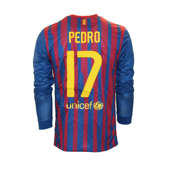 Image of   Barcelona home jersey L/S - Pedro 17-M