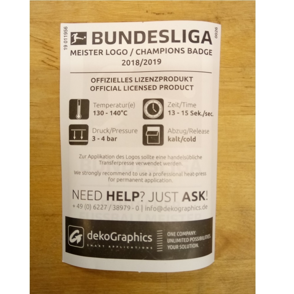Image of   Bundesliga Meister 18/19 Sleeve Badge - players-Player's