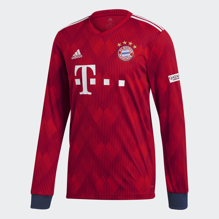 Image of   2018-2019 Bayern Munich Adidas Home Long Sleeve Shirt (Kids)-176