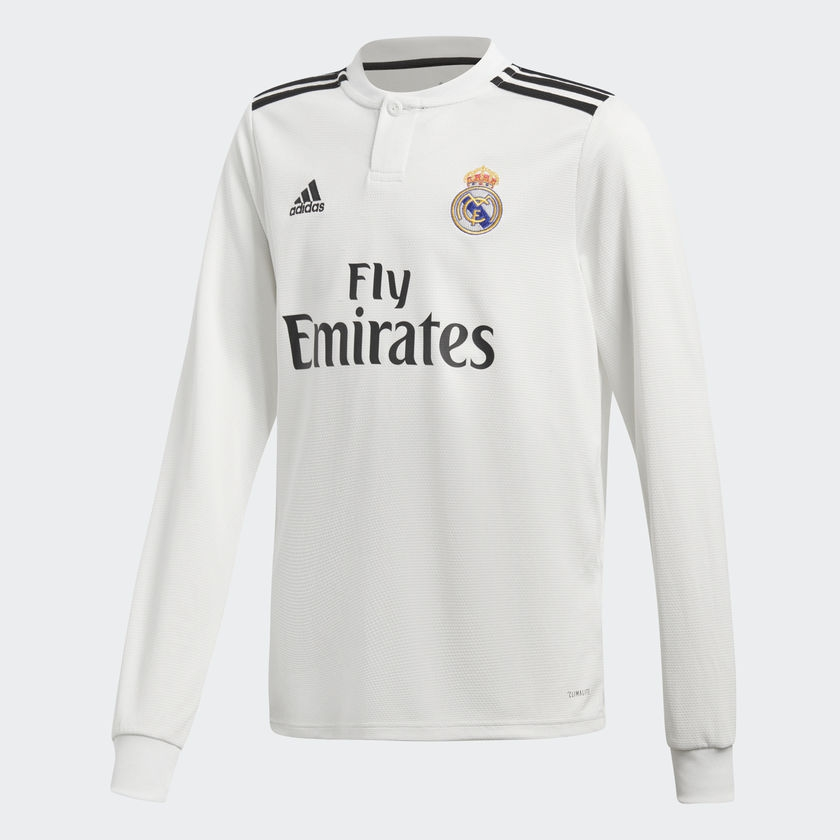 Image of   2018-2019 Real Madrid Adidas Home Long Sleeve Shirt (Kids)-140