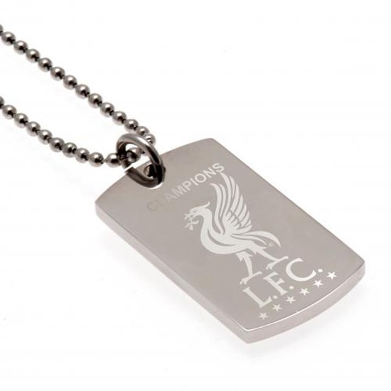 Liverpool FC Champions Of Europe Engraved Dog Tag & Chain