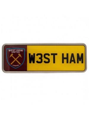 West Ham United FC Number Plate Badge