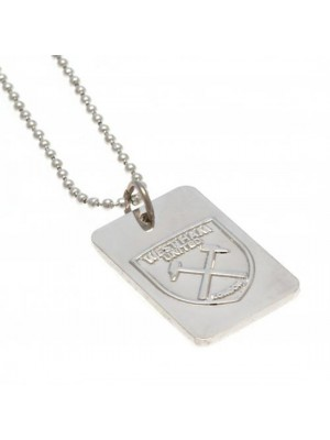 West Ham United FC Silver Plated Dog Tag & Chain