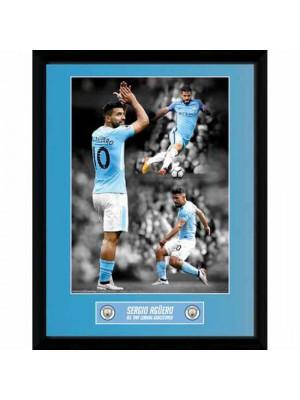 Manchester City FC Picture Aguero Goalscorer 16 x 12