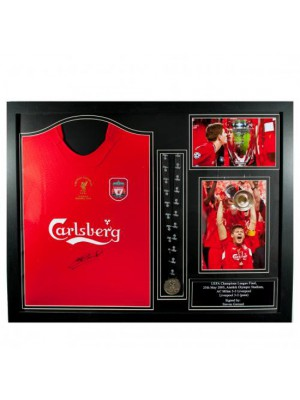 Liverpool FC Gerrard Signed Shirt Istanbul (Framed)