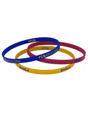 FC Barcelona 3 Pack Silicone Wristbands