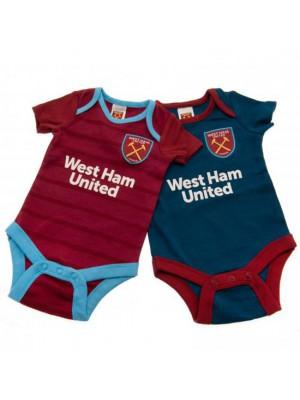 West Ham United FC 2 Pack Bodysuit 0/3 Months BL