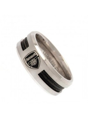 Arsenal FC Black Inlay Ring Large CR