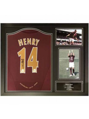 Arsenal FC Henry Signed Shirt Redcurrant Framed