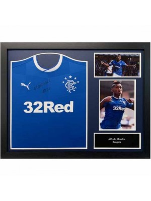 Rangers FC Morelos Signed Shirt (Framed)