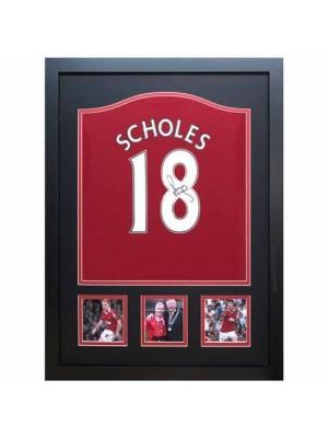 Manchester United FC Scholes Signed Shirt Framed