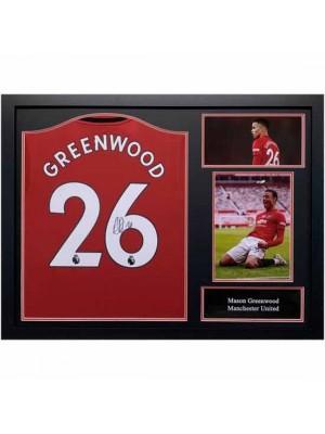 Manchester United FC Greenwood Signed Shirt (Framed)