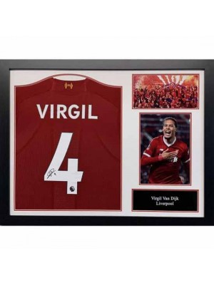 Liverpool FC Van Dijk Signed Shirt (Framed)