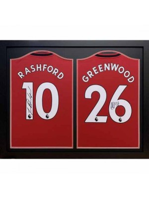 Manchester United FC Rashford & Greenwood Signed Shirts (Dual Framed)