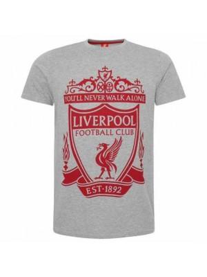 Liverpool FC Crest T Shirt Mens Grey XL