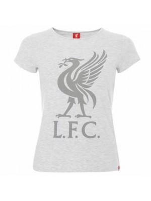 Liverpool FC Liverbird T Shirt Ladies Ice Marl 8