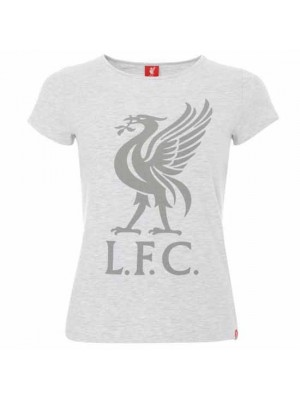 Liverpool FC Liverbird T Shirt Ladies Ice Marl 14