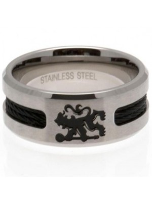 Chelsea FC Black Inlay Ring Large