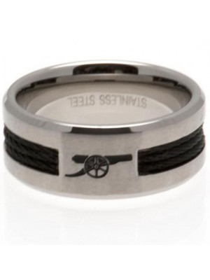 Arsenal FC Black Inlay Ring Medium