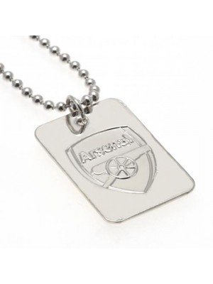 Arsenal FC Silver Plated Dog Tag & Chain