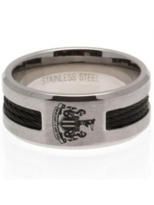Newcastle United FC Black Inlay Ring Medium