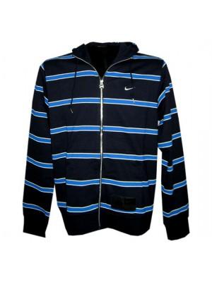 hoody full zipper top stripe - mens - navy