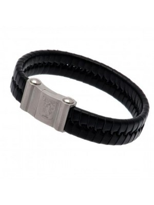 Aston Villa FC Single Plait Leather Bracelet