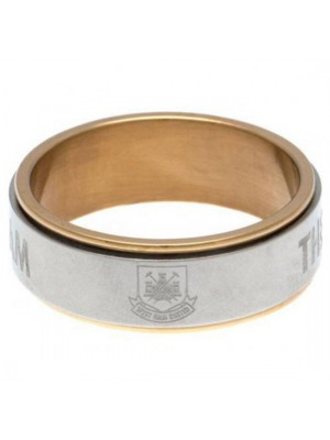 West Ham United FC Bi Colour Spinner Ring Large CT