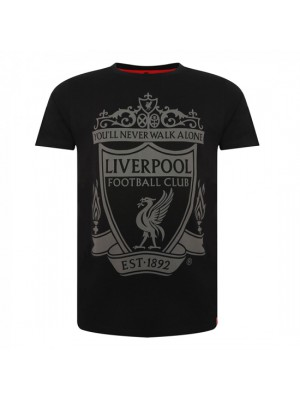 Liverpool Mens Black Crest Tee