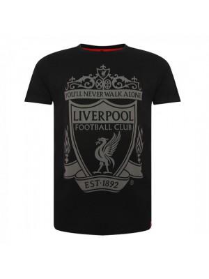 Liverpool Mens Black Crest Tee