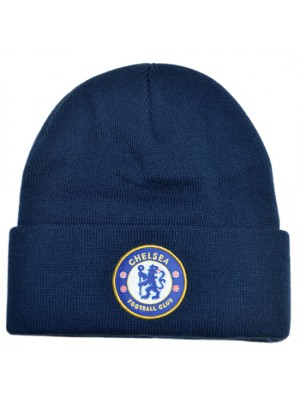 Chelsea Knitted Crest Turn Up Hat Navy