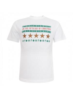 Liverpool Mens White Xmas 5 Stars Tee