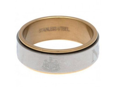 Newcastle United ring - Bi Colour Spinner Ring - X-Large