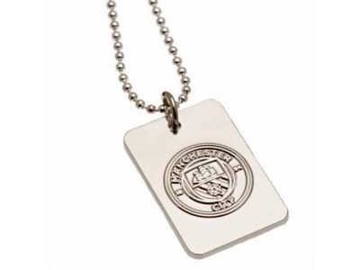 Manchester City hunde snor skilt - Silver Plated Dog Tag & Chain