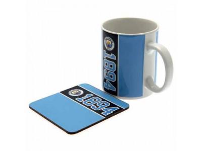 Manchester City krus og bordskåner sæt - Mug & Coaster Set