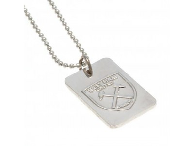 West Ham kæde og skilt - Silver Plated Dog Tag & Chain