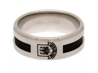 West Ham ring - Black Inlay Ring - Medium CT