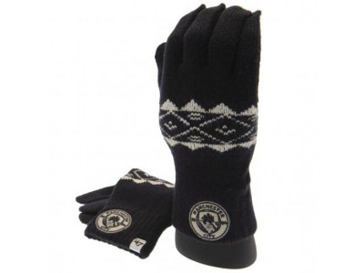 Manchester City vanter - Knitted Gloves Adult Fairisle