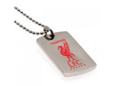 Liverpoolv hunde kæde - LFC Champions Of Europe Colour Crest Dog Tag & Chain