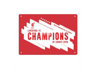 Liverpool skilt - LFC Champions Of Europe Window Sign