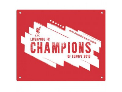 Liverpool skilt - LFC Champions Of Europe Metal Sign
