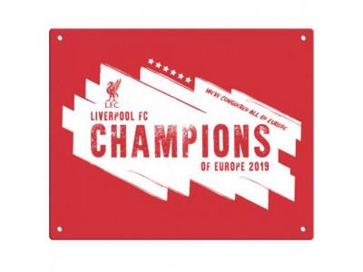 Liverpool skilt - LFC Champions Of Europe Metal Sign