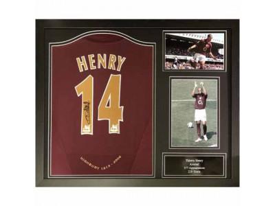 Arsenal trøje autograf Henry Signed Shirt Redcurrant Framed