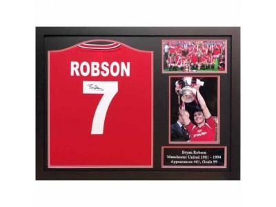 Manchester United trøje autograf - MUFC Robson Signed Shirt Framed