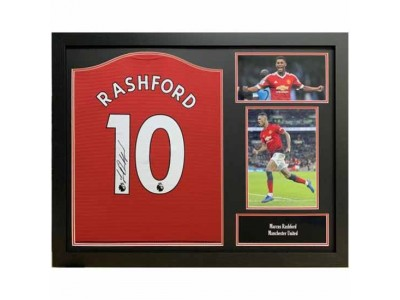 Manchester United trøje autograf - Rashford Signed Shirt Framed