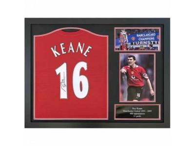 Manchester United trøje autograf - MUFC Keane Signed Shirt Framed