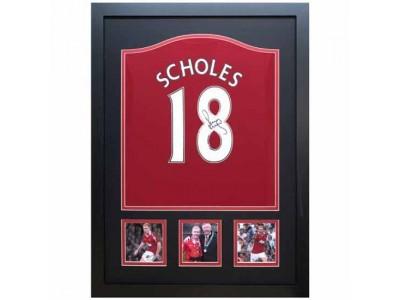 Manchester United trøje autograf - MUFC Scholes Signed Shirt Framed