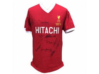 Liverpool trøje autograf 1977 European Cup Winners Signed Shirt