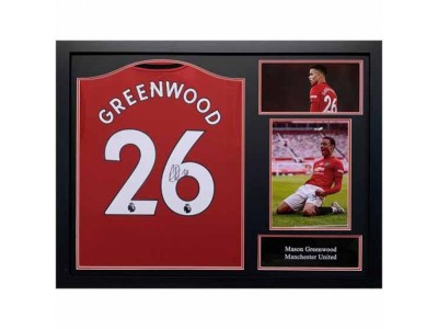 Manchester United trøje - Greenwood Signed Shirt (Framed)