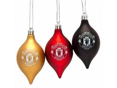 Manchester United julekugler - MUFC 3 Pack Vintage Bauble